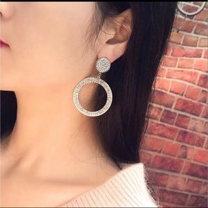 Silver inlaid crystal round pendant earrings